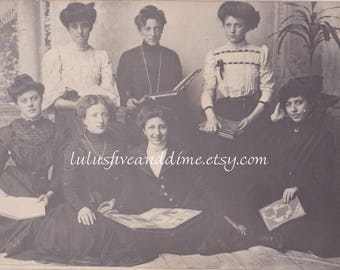 Vintage Real Photo Postcard - Group of Young Women Posing with Books - Edwardian Gibson Girls