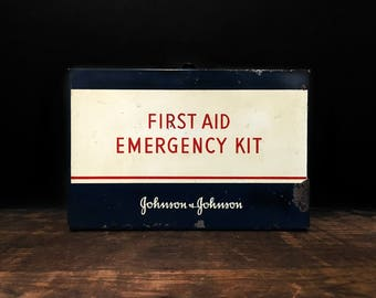 Vintage First Aid Kit, Johnson and Johnson Kit, Vintage Medical Box, Rustic Decor, Man Cave, Cabin Decor, Camping Gear