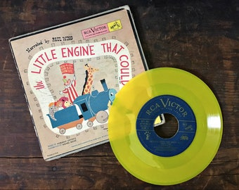 Little Engine That Could Record Set, Vintage Storybook, Vinyl Records, RCA Victor, Little Nipper Series, Narrated by Paul Wing, 45 rpms