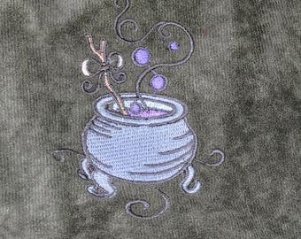 Witch's cauldron embroidered pouch