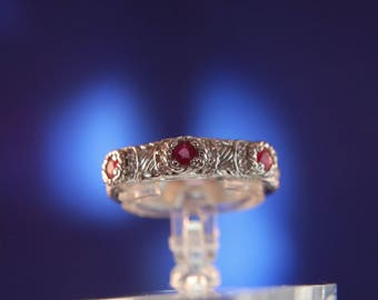 Designer Judith Ripka Sterling Silver 925 Cable Ruby Textured Trilogy Wedding Stack Stacking Band Ring Size 5