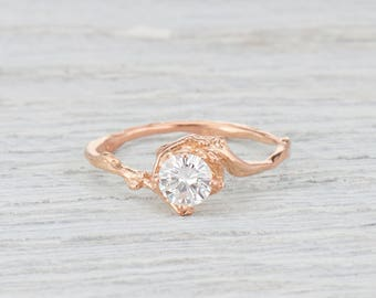 White Sapphire Engagement Ring White Gold, Rose Gold, Yellow Gold or Platinum - Nature Inspired Twig Ring with White Sapphire Solitaire