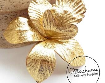 Textured Metallic Leatherette Orchid Millinery Fascinator Headdress Flower - Gold