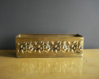 Narrow Brass Planter - Unique Embossed Brass Planter or Box - Made in England - English Brass