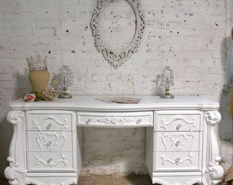 Painted Cottage Chic Shabby Romantic Desk DK295