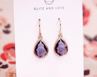 Tanzanite Purple Teardrop Earrings   Rose Gold   Simple Bridesmaid Bridal Wedding Jewerly Gifts   Something blue for her   GlitzAndLove