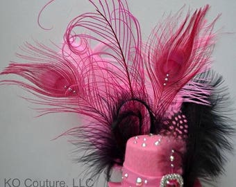 Mini top Hat Fascinator - Pink and Black Feather Bling Crystal Hat