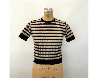 1970s crop top puckered striped navy blue tan Joyce Lane pullover Size S/M