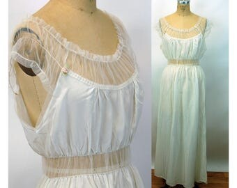 1940s nightgown Seamprufe rayon white sheer tulle ruffled sleeves rosette Size 36