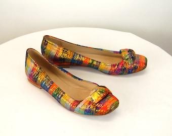 Stuart Weitzman shoes ballet flats plaid fabric metallic gold Size 7 M 1980s shoes
