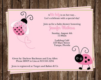 Ladybug Baby Shower, Invitations, Girl, Pink, Little, Lady, Bug, Pink, Green, Polka Dots, 10 Printed Invites, FREE Shipping, Customized