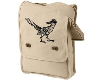 Roadrunner Field Bag, Hand Screen-printed Cross-body Bag, Messanger Bag, New Mexico Wildlife, Desert Animal, Southwest Design,  Albuquerque