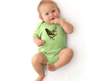 Chicken Baby Bodysuit, Backyard Chickens, Cotton Infant Onepiece, Shower Gift,  Hand Printed Baby Bird, Baby Clothes, Short Sleeved Shirt