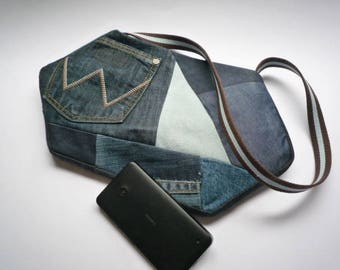 Women's handbag, denim bag, denim patchwork bag, recycled denim bag, denim shoulder bag unusual denim bag, tonal denim, spliced denim bag