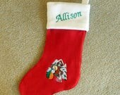 Fleece Christmas stocking reserved for Amofilem, embroidered Christmas stocking, custom fleece stocking, Christmas decor. ornaments, accents