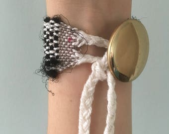 Handwoven Recycled Silk and Cotton  Bracelet // black and white / upcycled / zero waste / sustainable / boho / gift / OOAK
