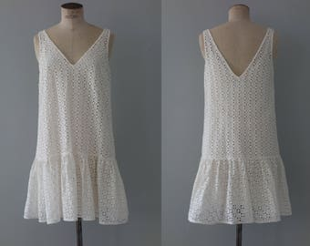 Lucie dress | white eyelet cotton dress | 1990's by cubevintage | medium