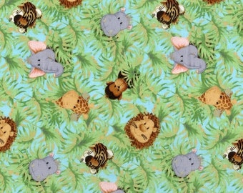 Fun Baby Zoo Animal Print Fabric--Great Quilting fabric--Hard Find -- SALE--LAST Piece