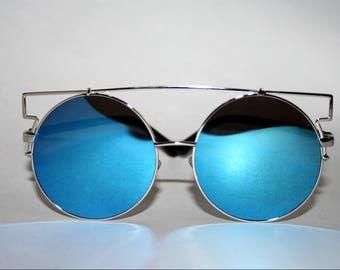 Blue Round Sunglasses Oversized
