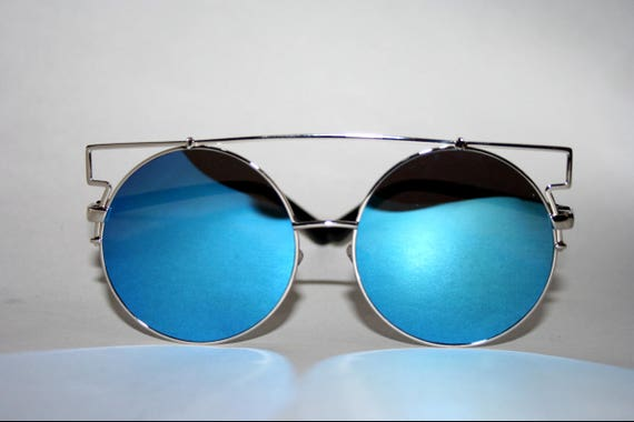 Blue Round Sunglasses Oversized
