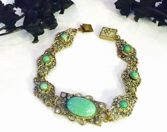 CIJ SALE Christmas JULY Austro Hungarian Czech Art Nouveau Brass Filigree Green Peeking Czech Glass Vintage Antique Bracelet