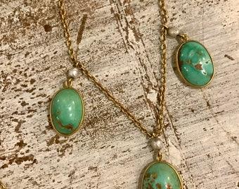 Elegant Art Nouveau 14kt Gold Natural Persian Turquoise Pearl Vintage Antique Festoon Necklace