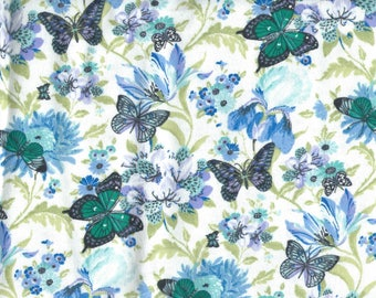 """BLUE BUTTERFLIES & FLOWERS on White Background Flannel Fabric, 1 yard x 42"""" inches wide.  Brand new."""