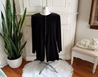 Vintage J.B.S. Ltd. Long Sleeved Black Tunic Top. Velvet, Velveteen look. Side and Front Slits. Holiday Christmas Party, Dressy, Classic.