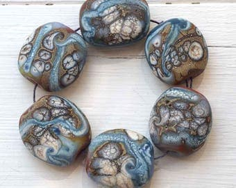 Lampwork Glass Bead Set, Six Organic Blue & Brown Etched Beads