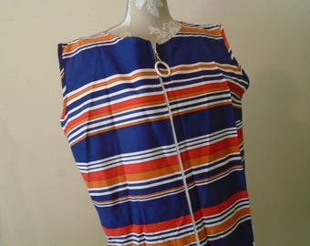 Striped House Dress  Bathing Suit Coverup  Front White Zipper Size Large