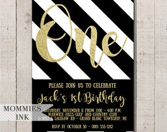 Black and Gold Birthday Invitation, First Birthday Invite, Black Stripes, Gold 1st Birthday Invite, Gold Invitation, 1st Birthday Invite