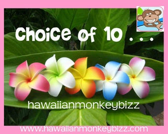 Curled-In Foam Plumeria Hair Picks or Clips - YOUR CHOICE OF 10 . . .