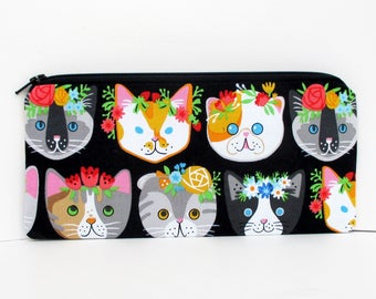 Zippered Pencil Case, Pretty Cat Faces on Black, Pet Pencil Pouch