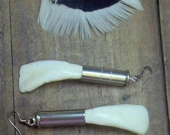 Wild West Trading Post Treasures: White Buffalo Teeth & Outlaw bullet shell upcyled Unisex tribal Taxidermy Handmade earrings. Made to Order