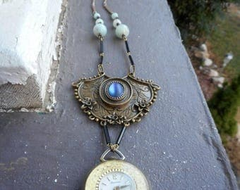 SALE I'm Late, I'm Late, For A Very ImPortanT DaTe - Alice  Inspired Vintage Pocket Watch Necklace. Blue Frosted Glass Brass Element & Amazo