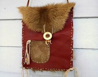 SALE The Magic-Man (Galapa). Genuine Kangaroo Fur Pelt, Deer Leather Suede, & Yew Tree Button Shaman Wizard Man Medicine Tribal Bag Pouch Pu