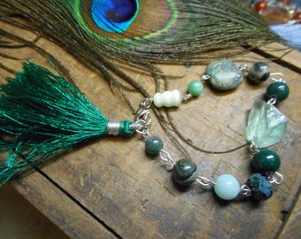 Emerald Coast. One of a kind. Lush green tassel, glass & gemstone bracelet with Cat's eye, Prehnite, Jade,  Chrysocolla and Amazonite