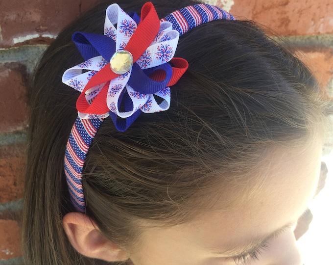 Fireworks Hair Bow Headband