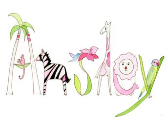 Nursery Wall Decor, Safari Animals, Jungle Wall Art, Custom Art, Original Watercolor Name, Kids Room Decor, Personalized Baby Gift
