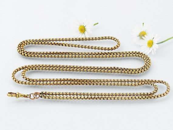 Victorian Muff Chain | Extra Long Polished Brass Muff Chain | 1.2 metre or 48 Inch Long Necklace Guard Chain & Fob Clip | Sautoir Chain
