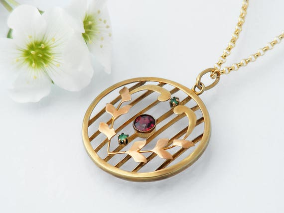 Edwardian Pendant | 9ct Gold, Garnet and Emeralds | Antique Pendant | Yellow, Rose Gold Heart Wreath Wedding Gift Necklace - 22 Inch Chain