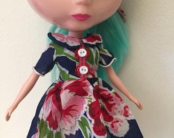 Navy Blue Floral Vintage Hankie Dress For Blythe