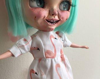Pink flamingos summer kawaii babydoll dress for Blythe doll