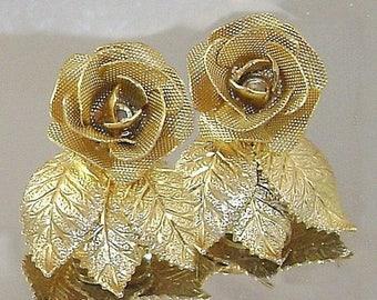 SALE Vintage Judy Lee Earrings. Gold Plated Mesh Roses Earrings.