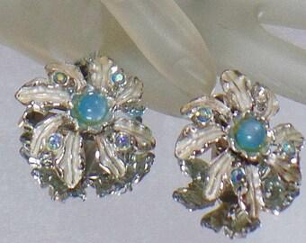 SALE Vintage Blue Moonglow Leaf Earrings. Judy Lee. Pale Blue Moonglow and Silver Leaf Earrings.