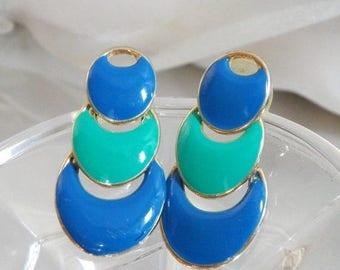 SALE Vintage Mod Earrings. Blue Aqua Green Enamel Pierced Earrings. Hinged Dangling Earrings. TAT.