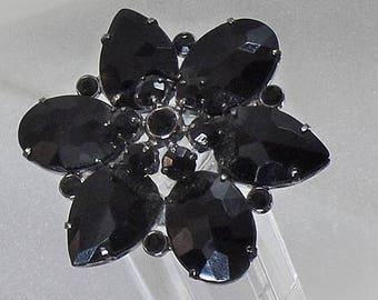 SALE Vintage Black Rhinestone Flower Brooch. Black  Rhinestone Petal Pin.