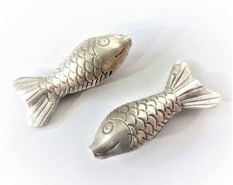 1 Karen Hill Tribe Fine Silver Puffed Fish Bead, 30mm x 14mm, 7mm thick, unique artisan-made beads and supplies, DIY supplies