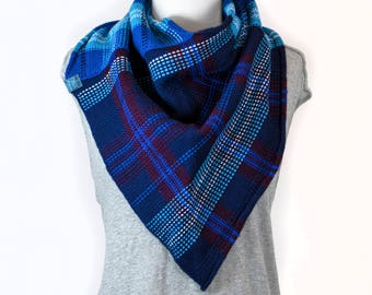 Bermagui Knit & Woven Colourful Plaid Wool Bandana Cowl Scarf