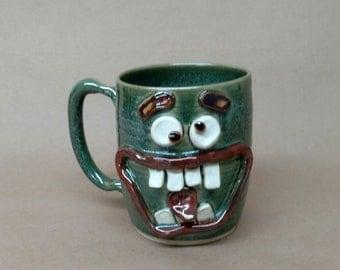 Hilarious Green Face Mug. Huge Over 24 Ounce Pottery Beer Stein. Sweet Tea Mug. Speckled Green UgChug Mug by NelsonStudio. Handmade Pottery.